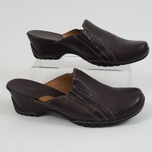Bjorndal Leather Nurse Clogs Wedge Slip On Shoes